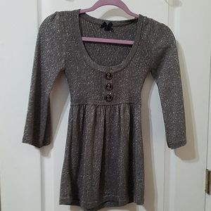 Girls Sweater Dress in Gray with Silver
